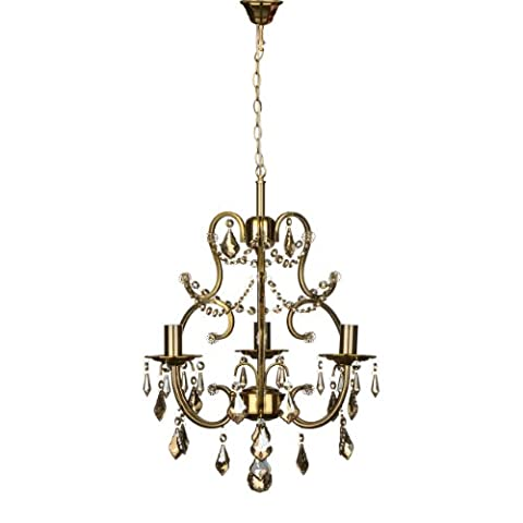 Copper Finish Iron Frame 3 Arm Dexter Chandelier With Crystal & Glass