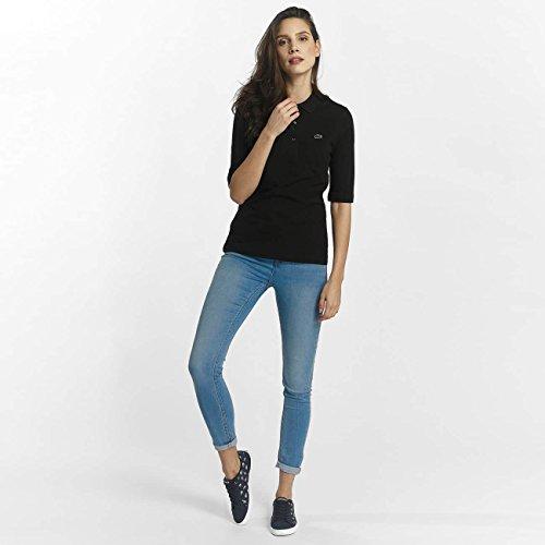 Lacoste PF5381 Klassisches Damen Polo, Polohemd, Polo-Shirt mit 3/4 Arm, Kurzarm, Regular Fit, für Freizeit und Sport, 100% Baumwolle Black 031
