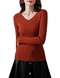 Aswinfon Pull Femme Col V Manches Longues Hiver Chaud Pullover Tricot  Chandail Sweater Top Blouse Jumper 7c598751172b