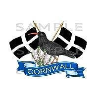 Totally Graphics Small Cornwall, Cornish Chough, Crossed Flag Sticker,Truck, Car, Motorhome, Van, Bike