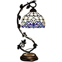 Tiffany Lamp White Blue Stained Glass and Baroque Style Table Lamps Wide 8 Inch Height 22 Inch For Living Room Antique Desk Beside Bedroom Set