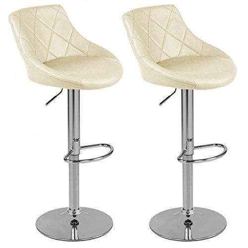 Sanzaro Barhocker mit Lehne Barstuhl 2er-Set Küchenhocker Lounge Hocker Stuhl mit Kunst-PU-Leder bezogen verchromter Fuß stufenlos höhenverstellbar Creme