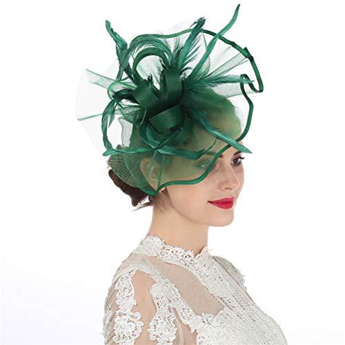 cinator Haarspange Haarspange Hut Feder Cocktail Hochzeit Tee Party Hut und Haarband für Frauen Gr. 85, 5-feather Green ()