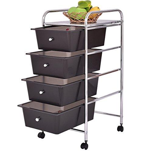 office trolley cart. Costway 4 Drawer Storage Trolley Cart Portable W/ Wheels Home Office/Beauty Salon Brown Office