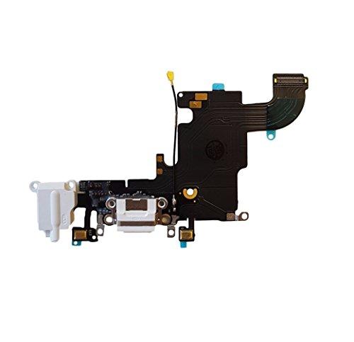 Smartex Conector de Carga de Repuesto Compatible con iPhone 6S Blanco – Dock de repeusto con Cable Flex, Altavoz, Antena, Micrófono y Conexión Botón de Inicio.