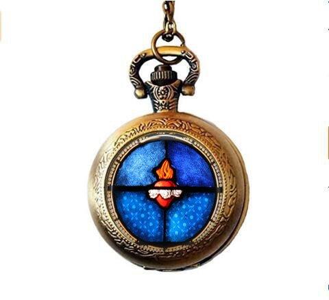 b2b The Sacred Heart gebeizt Glas Bild Taschenuhr Halskette