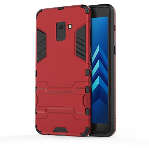 Price comparison product image FLHTZS Case Compatible with Samsung Galaxy A9 (2018) / Galaxy A9 Star Pro / Galaxy A9S Bracket TPU + PC perfect combination simple stylish generous with the fuselage(Red)