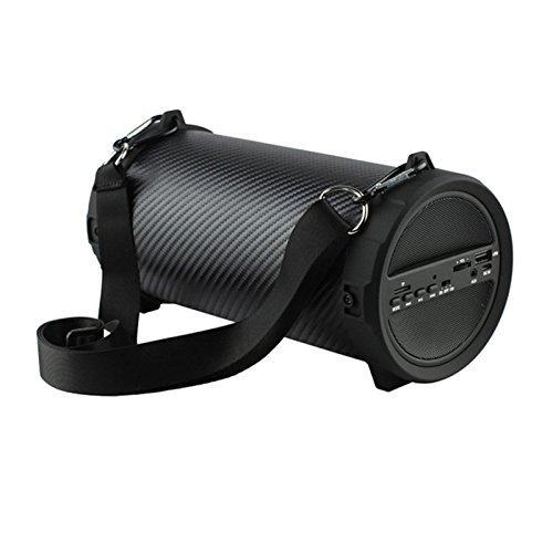 TOOGOO Drahtloser Schwerer Bass Bluetooth Outdoor Lautsprecher Energienbank 10W Hochleistung HiFi Tragbarer USB Stereo Subwoofer Stereoanlage Streifen schwarz