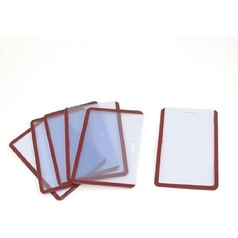 6 piezas de Claro Rojo Borde suave plástico vertical de la tarjeta de identificación de la Guardia B8 titulares