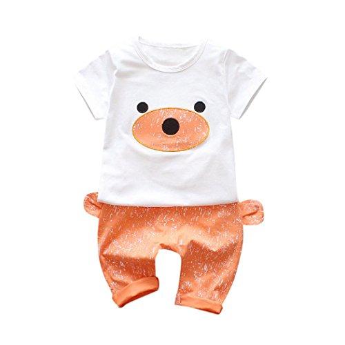 me 2 Stücke Infant Baby Jungen Mädchen Outfits Kleidung Set Bär Print Kinder Tops + Hosen (Orange, 0-6 Monate) (Kleine Meerjungfrau Outfit Für Baby)