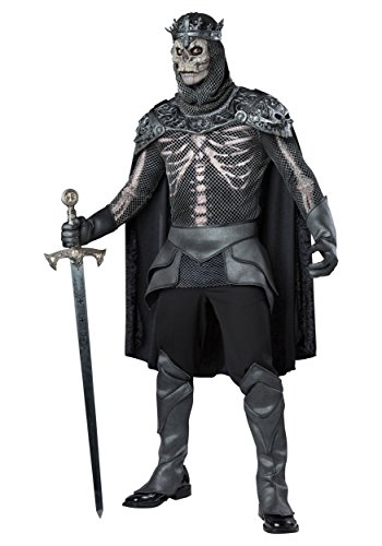 Schwarzer Skelett König Kostüm Dunkler Ritter - L (Kettenhemd Kostüm Shirt)