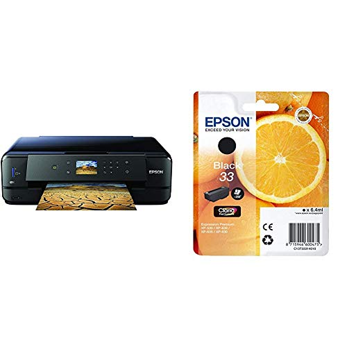 Epson Expression Premium XP-900 3-in-1 Tintenstrahl-Multifunktionsgerät Drucker (Scanner, Kopierer, WiFi, Duplex, 6,8 cm Display, Einzelpatronen, 5 Farben, DIN A3) schwarz