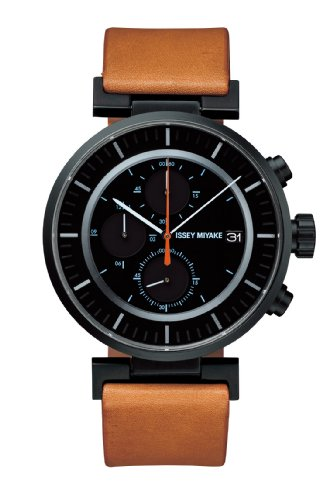 issey-miyake-w-unisex-quartz-watch-with-black-dial-chronograph-display-and-beige-leather-strap-silay