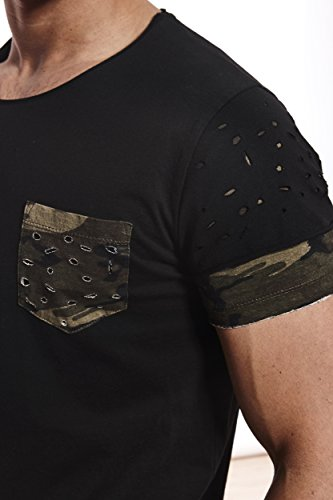 CRSM by Carisma Carisma Herren T-Shirt Designer Mode Men's Wear Stylisches Sommer T-Shirt Dirty-Oil Camouflage Design verschiedenes Styles und Farben T-4378 Camo-Black