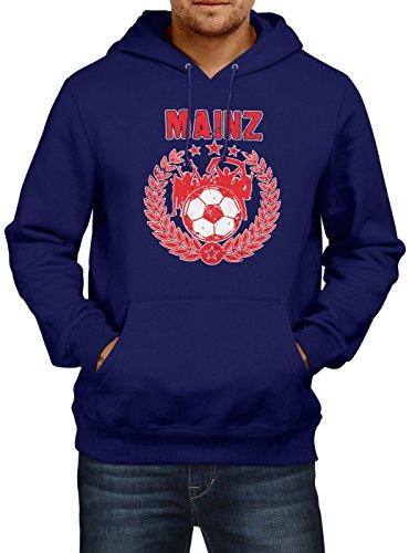 Mainz #3 Premium Hoodie | Fussball | Fan-Trikot | der 12. Mann | Herren | Kapuzenpullover, Farbe:Dunkelblau;Größe:S (Bell Fußball-trikot)
