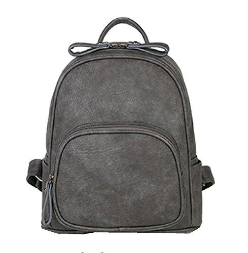 Yy.f Schulterbeutel Weiblicher Minimalistischer Rucksack PU-Mode-Handtaschen College Wind Damebeutel Neue Frauen Taschen Eine Vielzahl Von Farben Gray