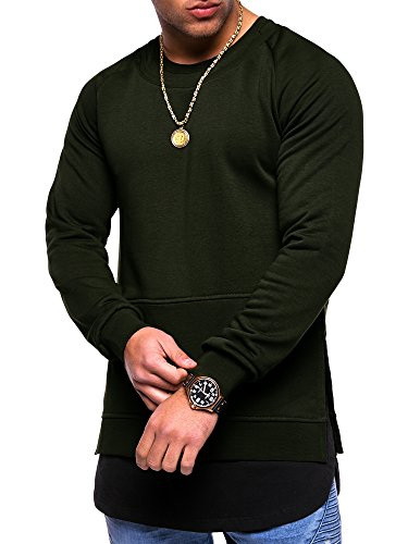MT Styles 2in1 Longline Layer Sweatshirt Pullover MT-012 Khaki
