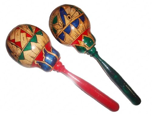 Pair of large wooden maracas.Hand painted in traditional style.Percussion.