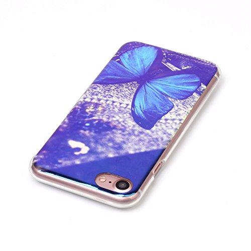 Voguecase® für Apple iPhone 7 Plus 5.5 hülle, Schutzhülle / Case / Cover / Hülle / TPU Gel Skin (Marmor/Schwarz) + Gratis Universal Eingabestift Blaues Licht/Blau Schmetterling