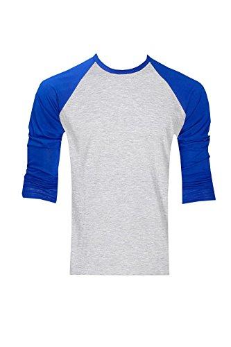 Raftaar® T-Shirt im Baseball-Design, Unisex, aus 100% Baumwolle, leicht, Lange Raglanärmel, Grauer Hauptteil - Grey/Royal - L - Long Sleeve Baseball Shirt