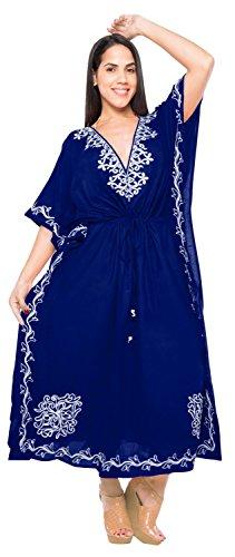 La Leela Designer vertuschen langen Strand Abendkleid Rayon Badebekleidung Badeanzug Kaftan Frauen Kimono Blau 3