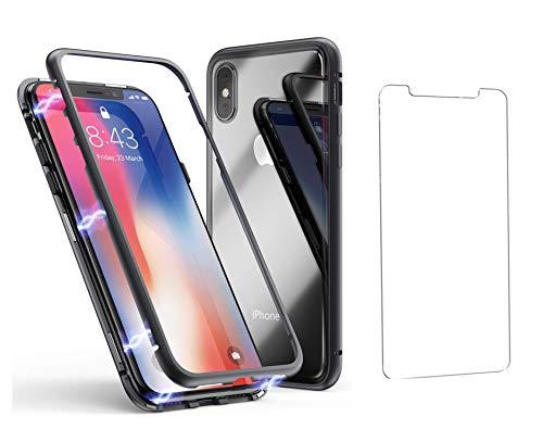 Cubierta funda magnético color negro claro INCLUYE FRENTE DE CRISTAL TEMPLADO para Apple iPhone X, [QI-CERTIFIED SOPORTES INALÁMBRICOS RECARGAR]