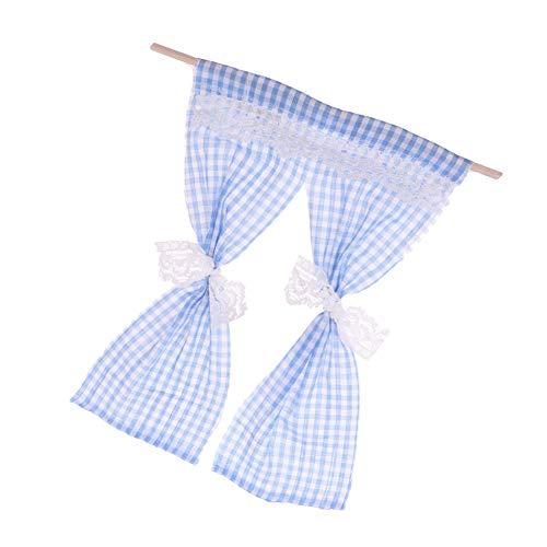 AchidistviQ-❤Miniatur-Vorhang, Spitzenvorhang, handgefertigt, Spielzeug, Puppenhaus, Dekoration, Gelb blau - Liner Klar Vorhang Dusche