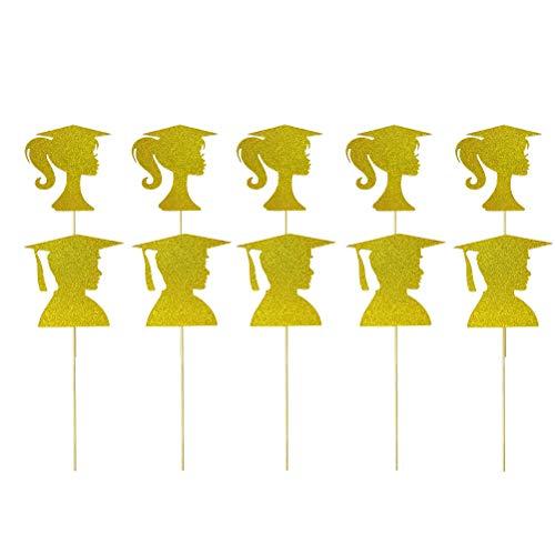 BESTOYARD 10 Teile / Paket Graduation Glitter Cake Topper Gold Frauen Kopfform Tragen Akademisches Kleid Abschlussfeier Party Favors
