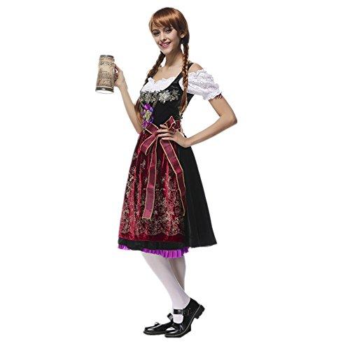Imagen de disfraz de bavara de mujer uniforme vestido de oktoberfest traje tradicional de baviera disfraz de criada cosplay para halloween carnaval bar alternativa