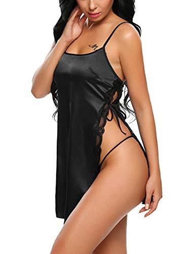 ADOME Nachtkleid Satin Sexy mit G-String Dessous Babydoll Kurz Ouvert Nachtwäsche Damen Nachthemd Öffnen Seite Spitze Negligee Reizwäsche Sleepwear Kleid Schwarz S - La-la-nachthemd