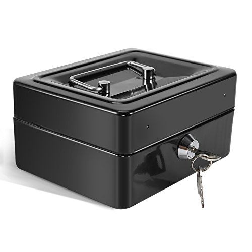 Safe Box - Mini Portable Stahl klein Abschließbar Cash Geld Münze Safe Box, Haushalt, 1Pcs (Color : Black) Stahl-safe