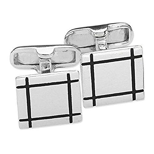 Boutons de manchette homme carré en grille carrée Noir avec détails en argent Sterling 925 et émail noir &Classic Étui Style Boutons de manchette-Livr