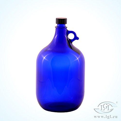 Glas-wasser-flaschen Schraubverschluss (Gallone 5 Liter Blau zum Selbstabfüllen Schraubverschluß Ballon Glasflasche Wein Selbstbrennen)