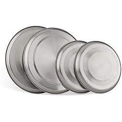 Relaxdays 10013225 4 cache-plaques en acier inox protège-plaques pour plaques électriques, argenté,20 cm