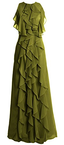 MACloth Women O Neck Long Bridesmaid Dress Chiffon Wedding Party Evening Gown Olive Green