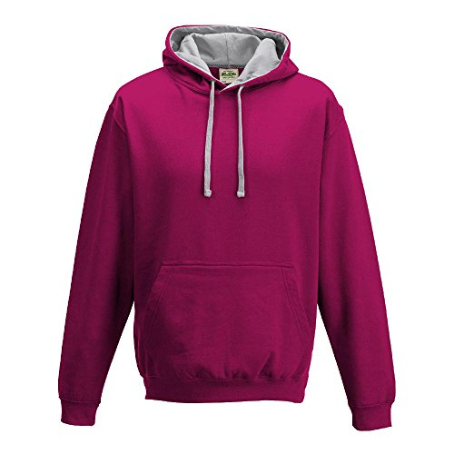 Just Hoods - Varsity Hoodie - 2-farbiger Kapuzenpullover S,Hot Pink/Heather Grey (Hot-fashion-bekleidung)