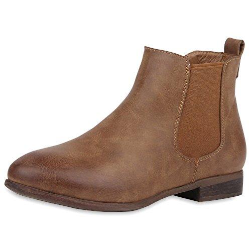 Chelsea Boots Damen | Kunstleder Stiefeletten | Pflegeleichtes Obermaterial | Gr. 36-41 Khaki Braun