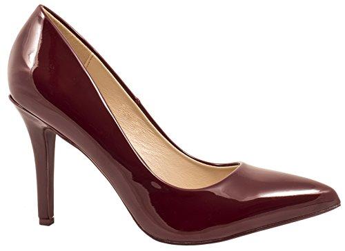 Elara Spitze Damen Pumps | Bequeme Lack Stilettos | Elegante High Heels | chunkyrayan JA70-Wine-39