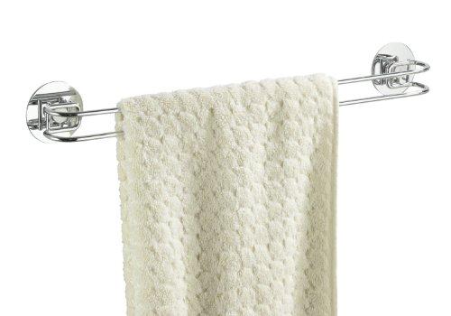 WENKO 18769100 Turbo-Loc porta asciugamani - fissaggio senza trapano, Acciaio, 46 x 6 x 5 cm, Cromo
