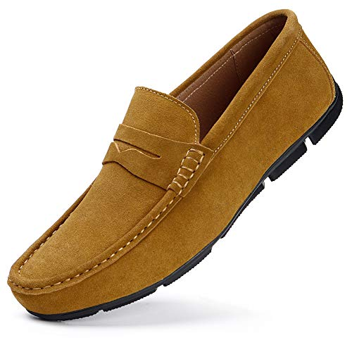 HKR Mocassini Uomo Pelle Estivi Pantofole Casual Eleganti Slip On Scarpe da Guida Scarpe da Barca Classic Loafers Marrone EU 40