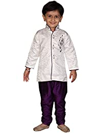 Divinee Boys White Indo Western Suit with Purple Breeches