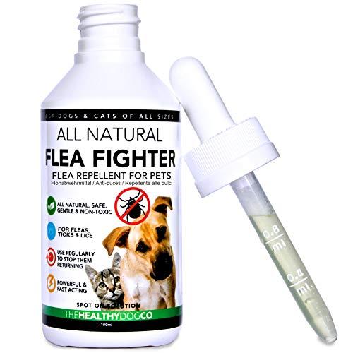 Solución para el tratamiento y la prevención natural de las pulgas | Solución para perros y gatos | Mata, previene y controla las pulgas, las garrapatas y los piojos