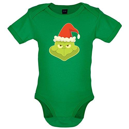 Dressdown Grinch Gesicht - Lustiger Baby-Body - Leuchtend Grün - 0 bis 3 - Grinch Kostüm Baby