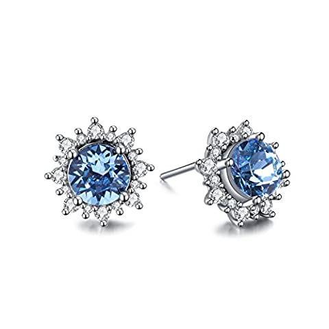 ZMIKI Damen Ohrstecker Kristall Saphir Blau mit Zirkonia 925 Sterling Silber Mode Schmuck Ohrringes