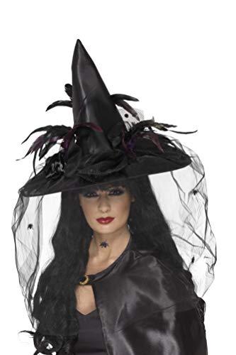 Smiffy's 33786 Hexenhut, Federn und Netz, Einheitsgröße (Lustige Halloween-kostüm Original Ideen,)
