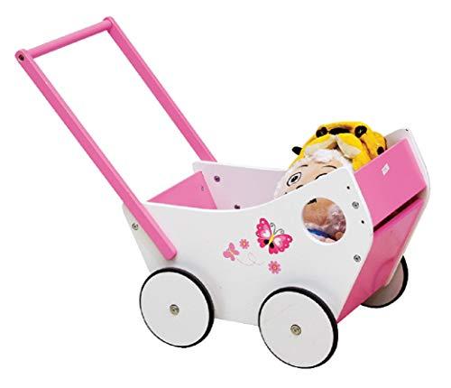 Lia Fashion Puppenwagen aus Holz tolles Geschenk groß rosa/weiß Holzspielzeug Tolles Geschenk ab 2 Jahren Wagen für Puppe tolle Qualität