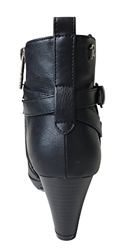 Refresh Donna Stivali Bikerboot Ankle Boot Nero Nero