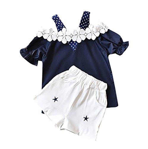 Ensembles Shorts Et Haut Fille, Bonjouree T-Shirt à Pois Manches Courtes en Dentelle Et Shorts Ete pour enfant Fille 2-7 Ans (Marine, 3-4 Ans)