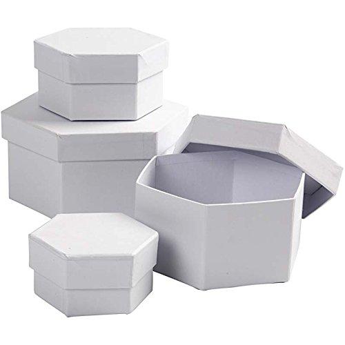 Schachteln, sechseckig, D: 6,5+8+10+12 cm, 4 sort.