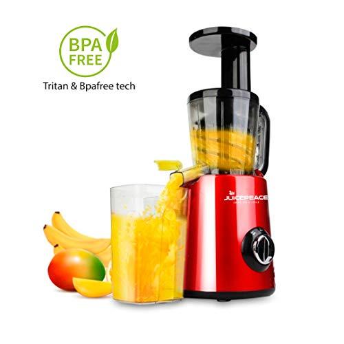 Juicepeace Siquri Extracteur de jus à froid silencieux, compact, sans BPA, 32 tours/minute rouge